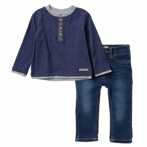 Heather Jersey Henley Top & Jeans Set, NWT, 12M